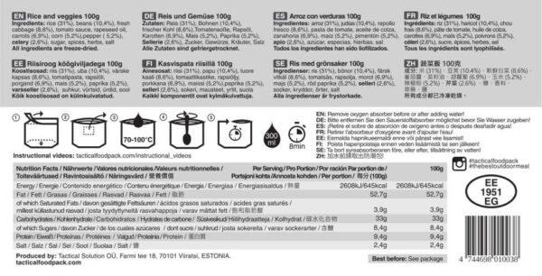 Tactical Foodpack Rijst met groenten etiket