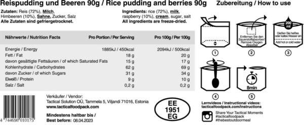 Tactical Foodpack Rijstpudding met frambozen