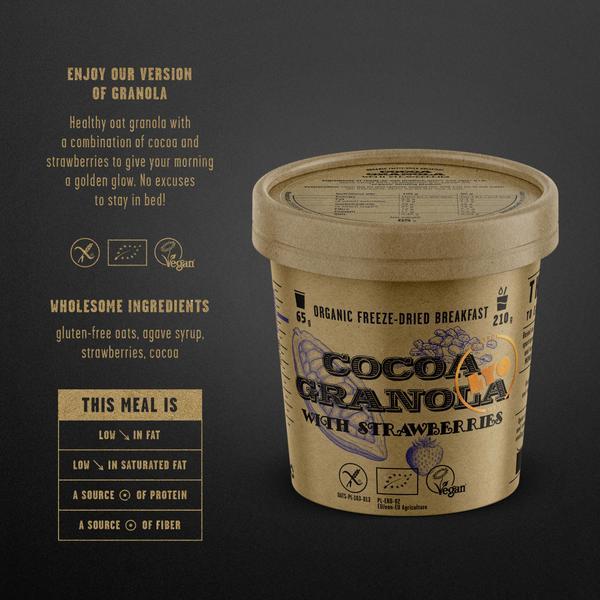 Lyo Food biologische cacao muesli met aardbeien