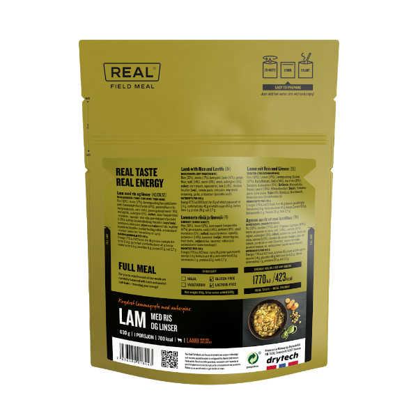 Lamsvlees met rijst en linzen - 693 kcal - Real Field Meal