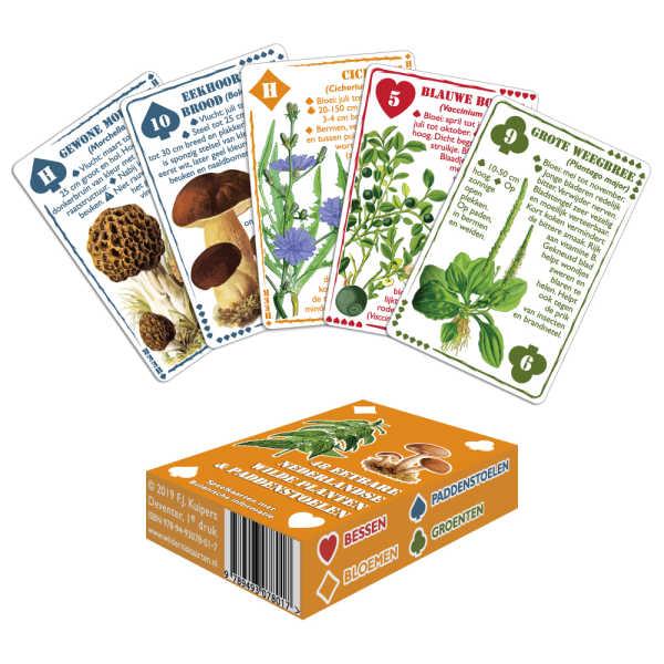Speelkaarten - 48 Eetbare Nederlandse Wilde Planten & Paddenstoelen